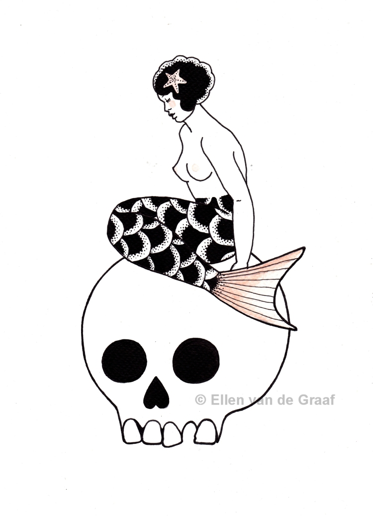 Bored mermaid on a skull
